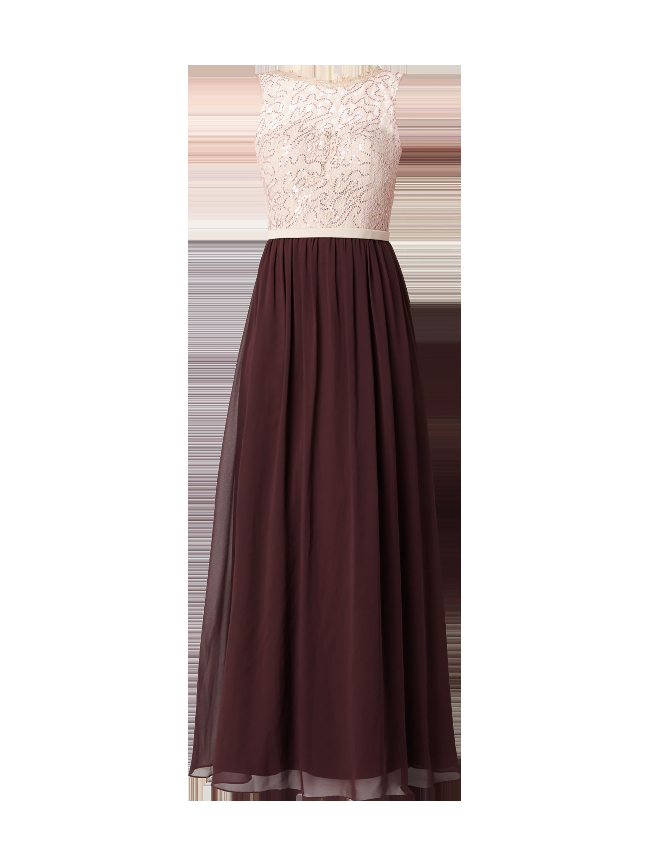 Unique – Abendkleid mit Oberteil aus floraler Spitze – Rosé