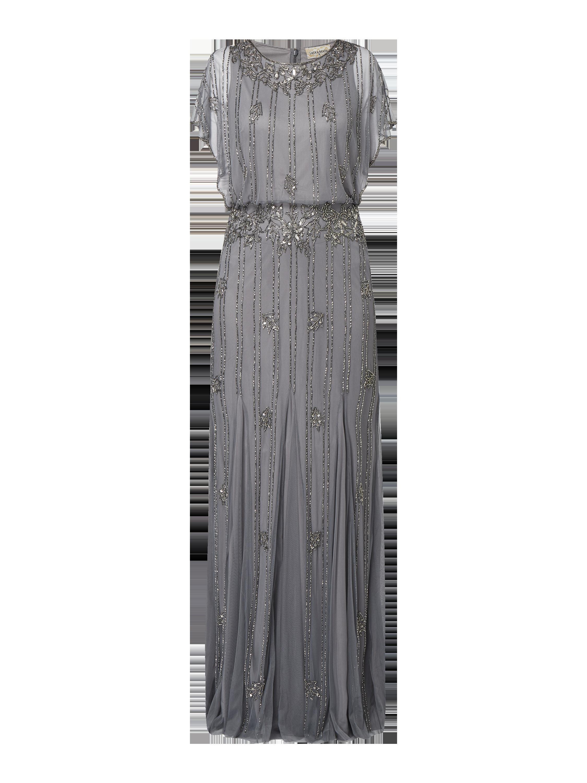 LACE & BEADS – Abendkleid aus Tüll mit Flügelärmeln – Mittelgrau
