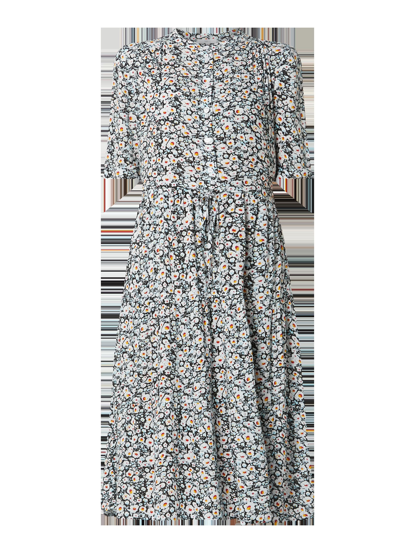 Jake*s Casual – Kleid mit Millefleurs – Schwarz
