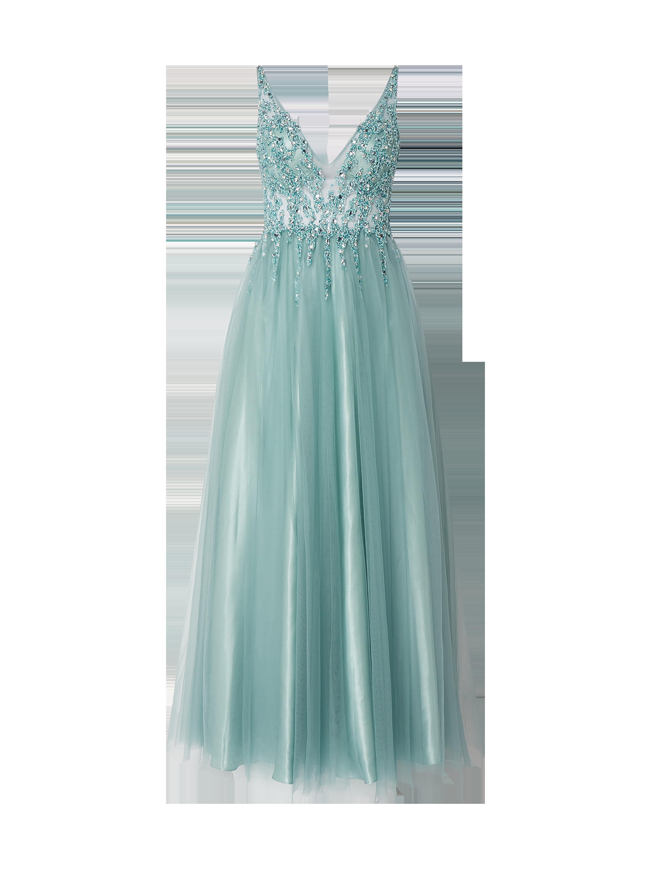 Mascara – Abendkleid aus Tüll mit Ziersteinbesatz – Lindgrün