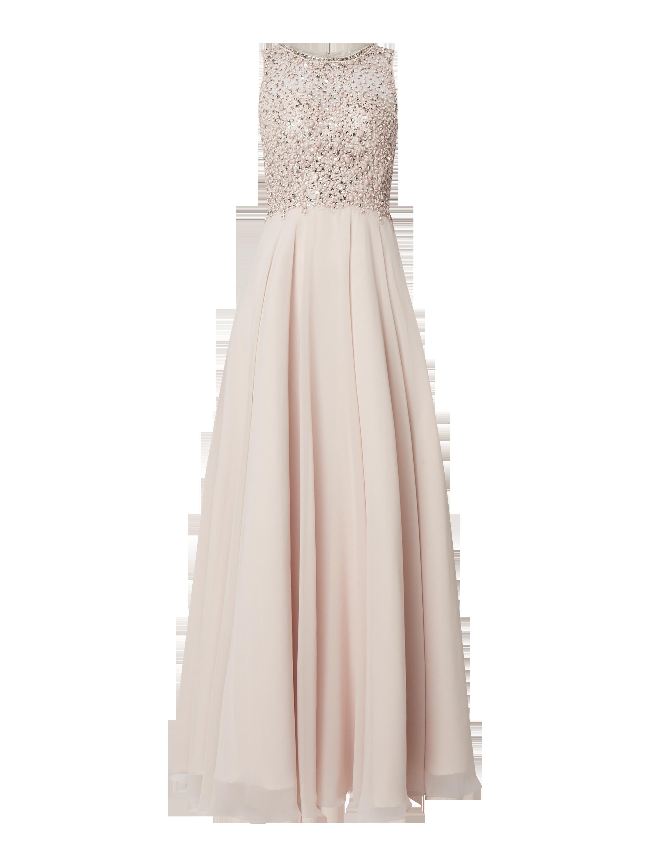Unique – Abendkleid mit Ziersteinen und Pailletten – Beige