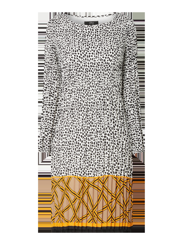 s.Oliver BLACK LABEL – Kleid mit Mustermix und Plisseefalten – Offwhite