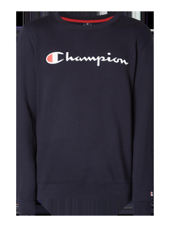 CHAMPION Sweatshirt mit Logo Stickerei in Blau Türkis