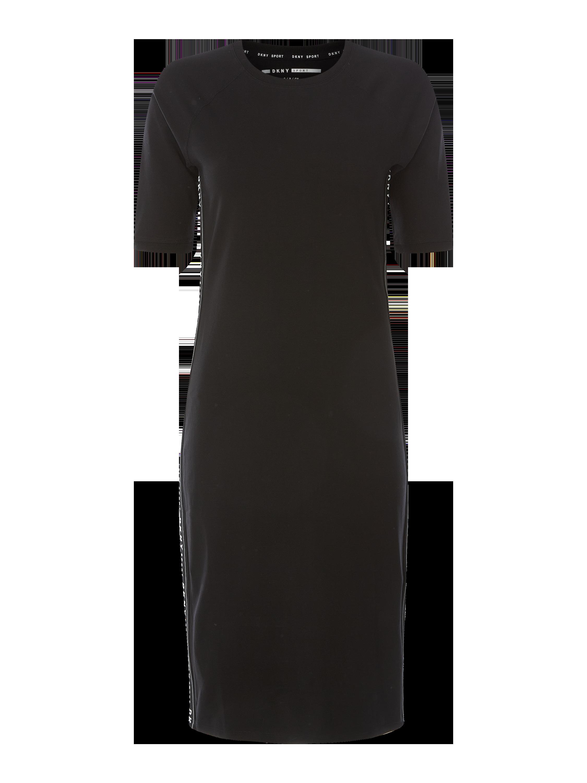 dkny performance – kleid mit seitlichen logo-streifen – schwarz