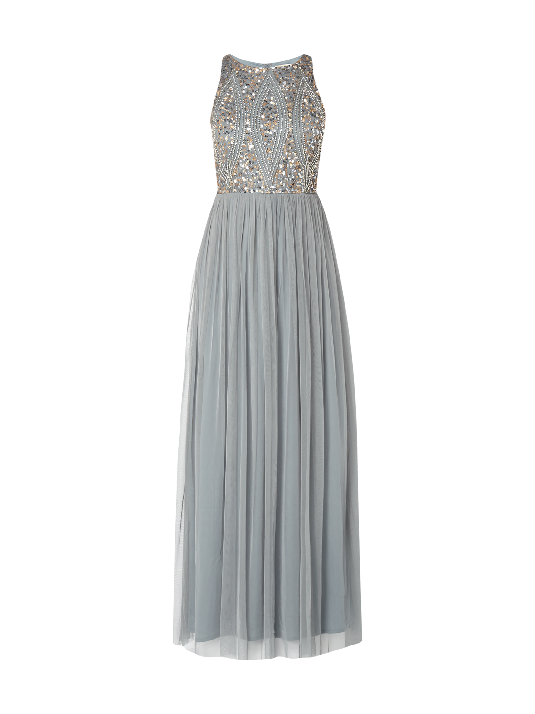 Abendkleid lang grau blau