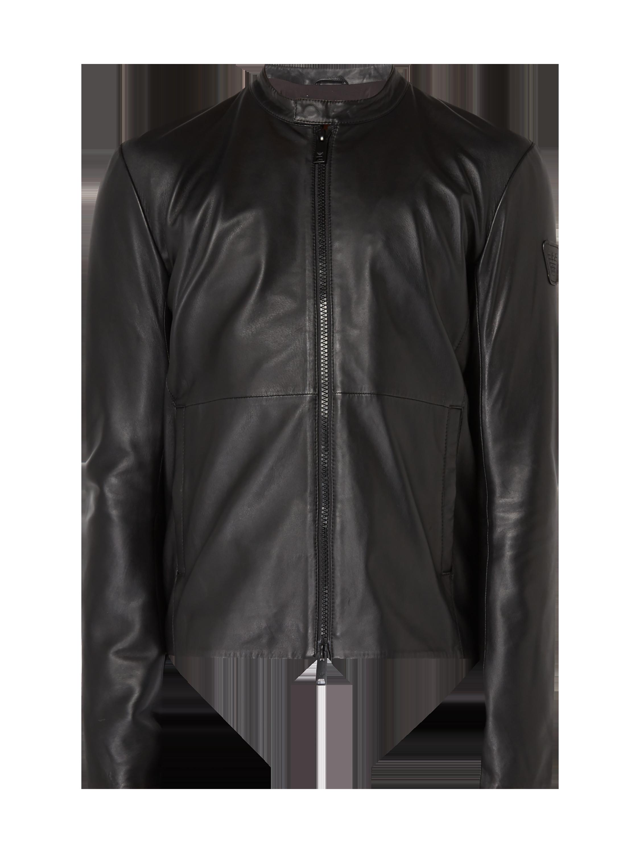 EMPORIO-ARMANI Lederjacke mit Stehkragen in Grau   Schwarz online kaufen  (9750879) ▷ P C Online Shop Österreich 466abd9b80