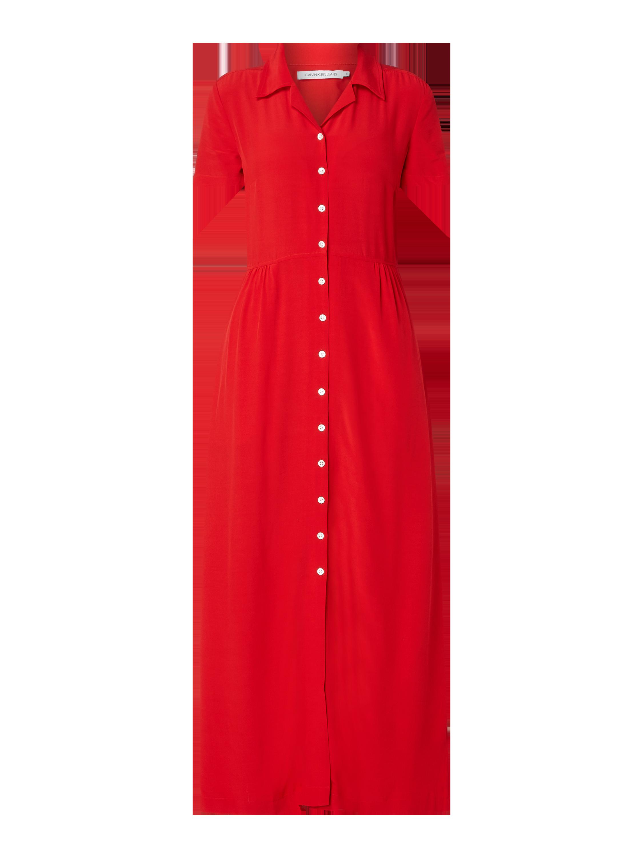 Calvin Klein Jeans – Blusenkleid aus Viskose – Rot