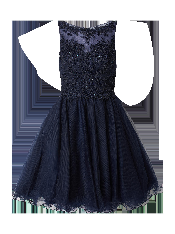 laona – cocktailkleid mit floralen stickereien – dunkelblau
