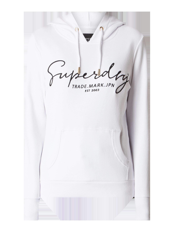 SUPERDRY Hoodie mit Logo Stickerei in Weiß online kaufen