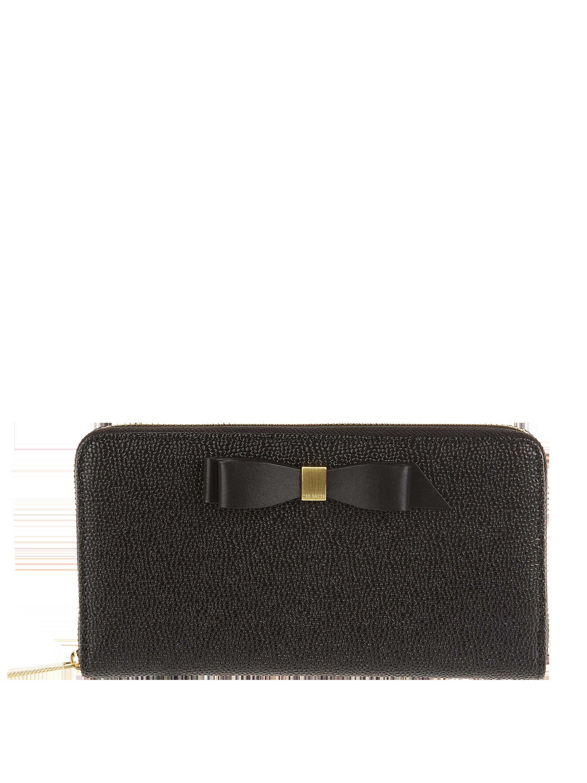1c27044f70dfd TED-BAKER Portfel skórzany z ozdobną kokardą w kolorze Szary   czarny  zakupy online (9888343) w P C ▷ wysyłka i zwrot 0zł