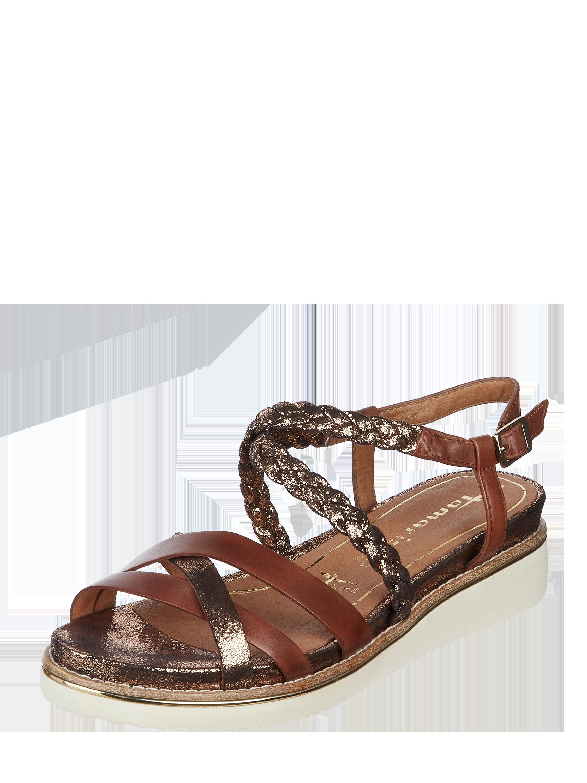 Tamaris – Sandalen aus Leder mit Metallic Details – Camel
