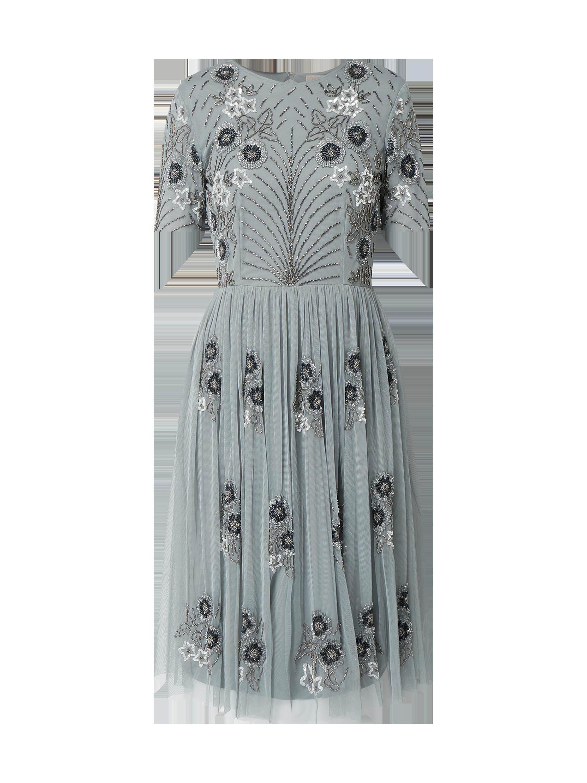 c7f9824dda LACE-BEADS Sukienka koktajlowa z siateczki z ozdobnymi perełkami w kolorze  Szary   czarny zakupy online (9951788) w P C - 20% zniżki - wysyłka i zwrot  0zł