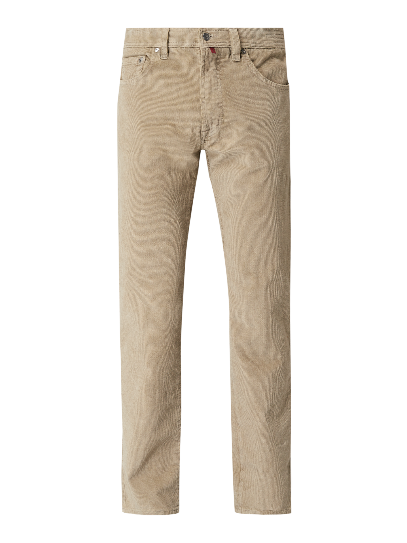 Deauville Spodnie sztruksowe o kroju Regular Fit z dodatkiem streczu