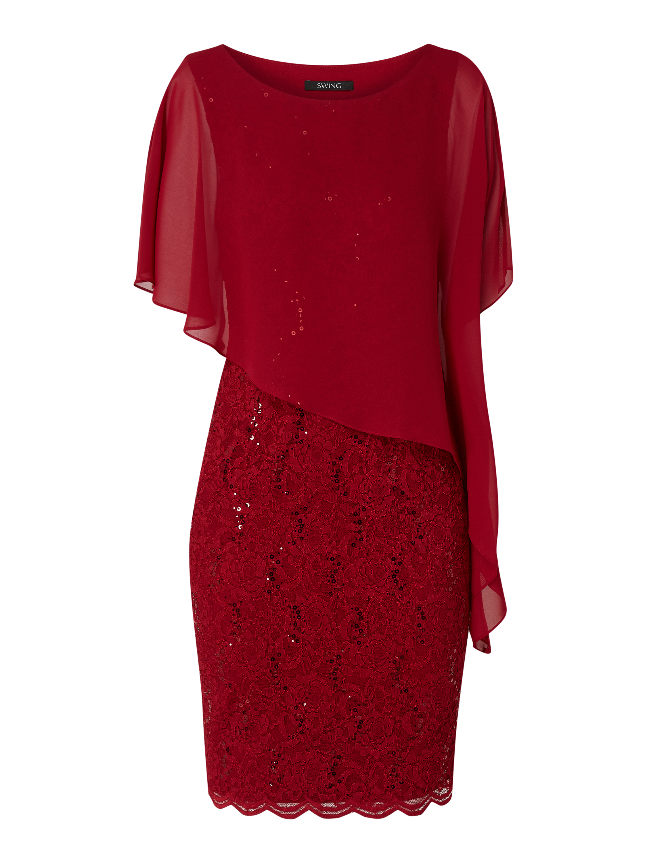 swing – cocktailkleid aus floraler spitze – rot