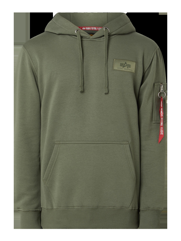 Alpha Industries – Hoodie mit Logo Print – Olivgrün