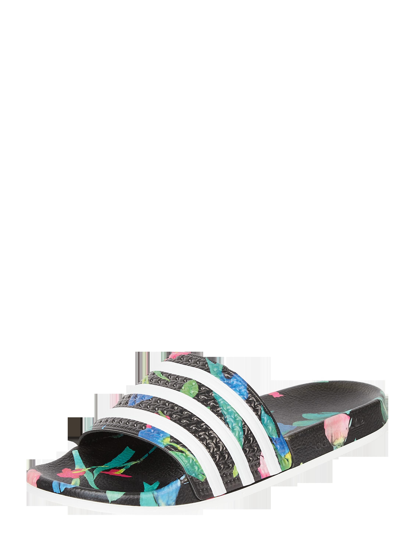 ADIDAS Originals – Slides aus Gummi mit floralem Muster – Schwarz