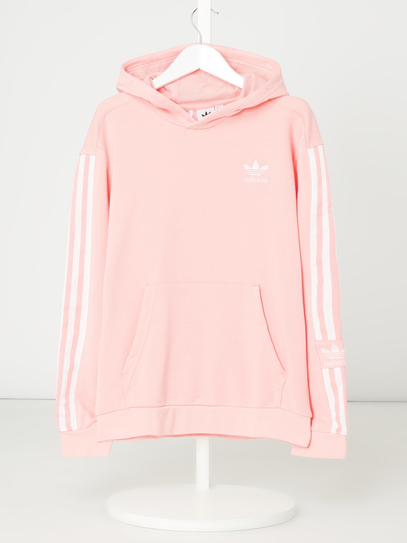 ADIDAS Originals – Bluza z kapturem z paskami z logo – Różowy