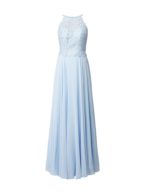 Luxuar – Abendkleid mit floraler Häkelspitze – Hellblau