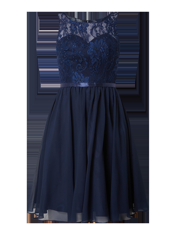 Luxuar – Cocktailkleid aus Spitze und Chiffon – Marineblau