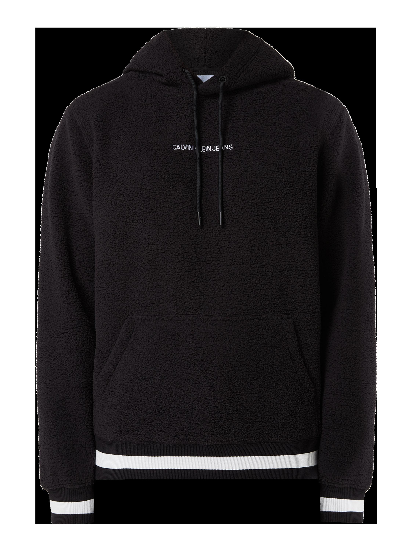 Calvin Klein Jeans – Hoodie aus Teddyfell – Schwarz