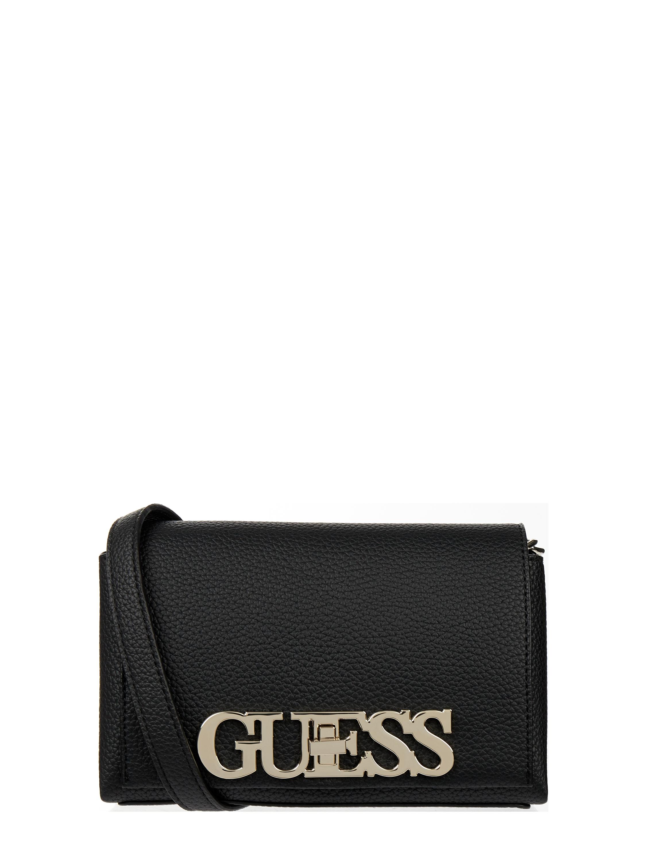 Guess – Torebka na długim pasku ze sprzączką z logo – Czarny