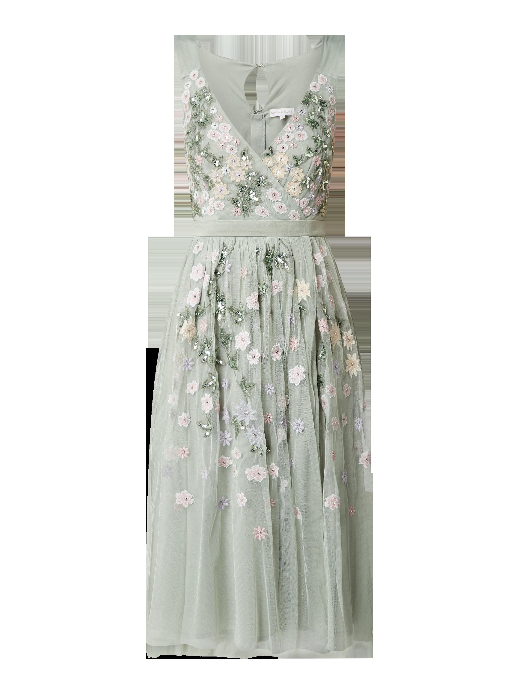 MAYA DELUXE – Cocktailkleid aus Tüll mit floralen Stickereien – Lindgrün