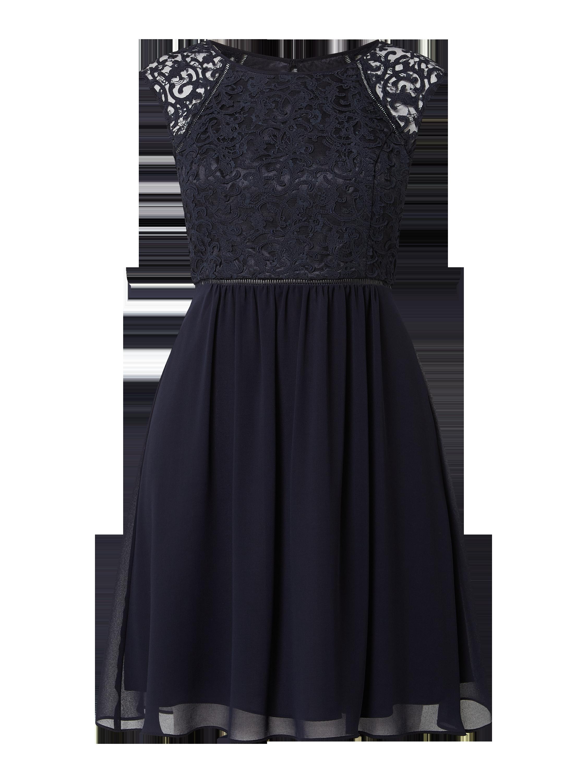 v.m. – cocktailkleid aus mesh und chiffon – marineblau