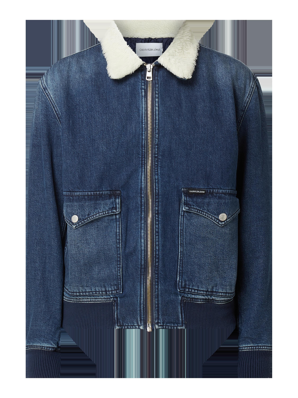 Calvin Klein Jeans – Jeansjacke mit Webpelzbesatz – Schwarz