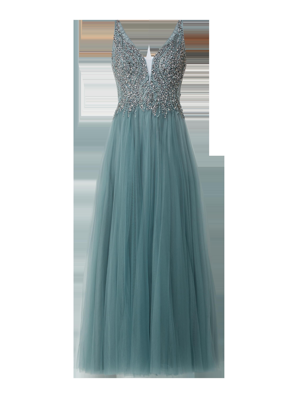 Unique – Abendkleid aus Mesh mit Ziersteinen – Türkis