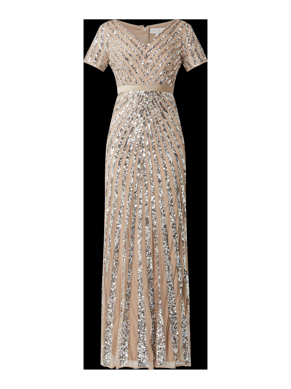 maya deluxe – abendkleid aus mesh mit pailletten-applikationen – hellrosa