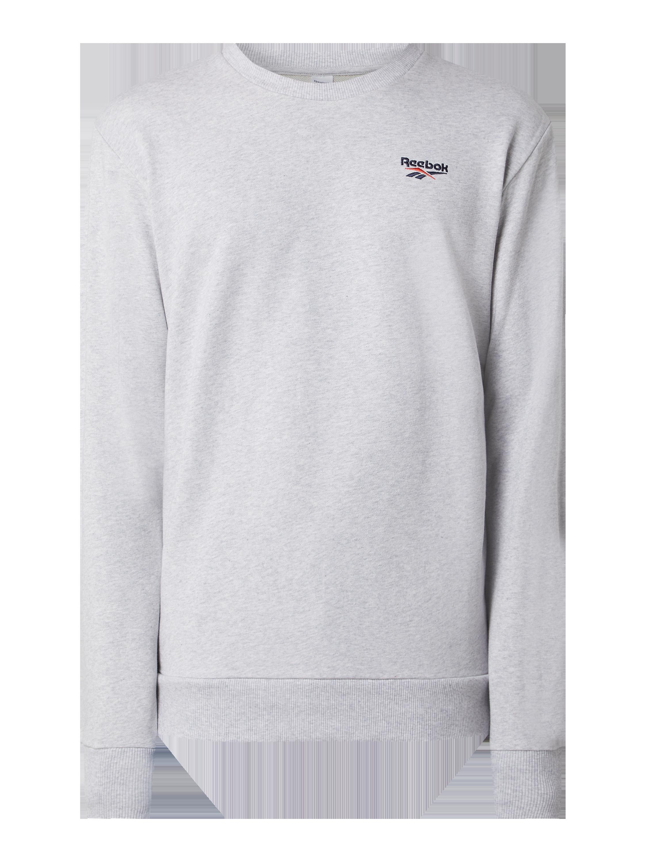 REEBOK Sweatshirt mit Logo Stickerei in Grau Schwarz
