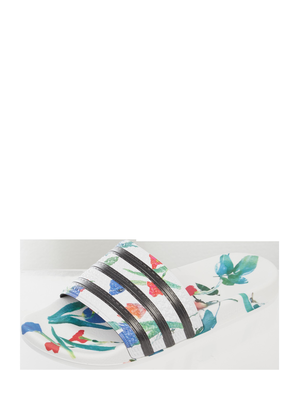 ADIDAS Originals – Slides mit floralem Muster – Weiß