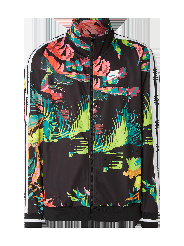 Nike – Trainingsjacke mit Allover Muster – Dunkelgrün