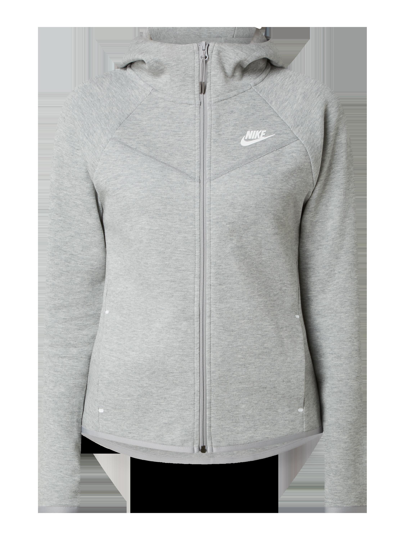 NIKE Sweatjacke mit verlängerter Rückseite in Grau Schwarz