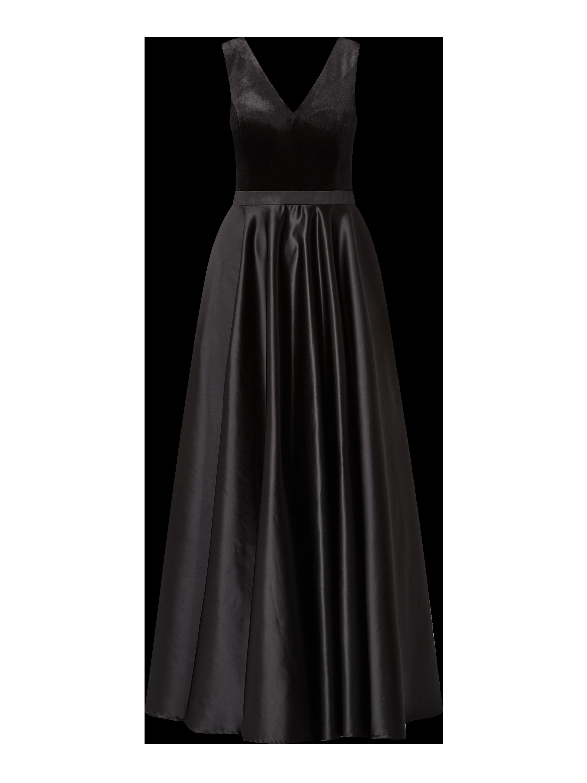 paradi – abendkleid aus samt und taft – schwarz