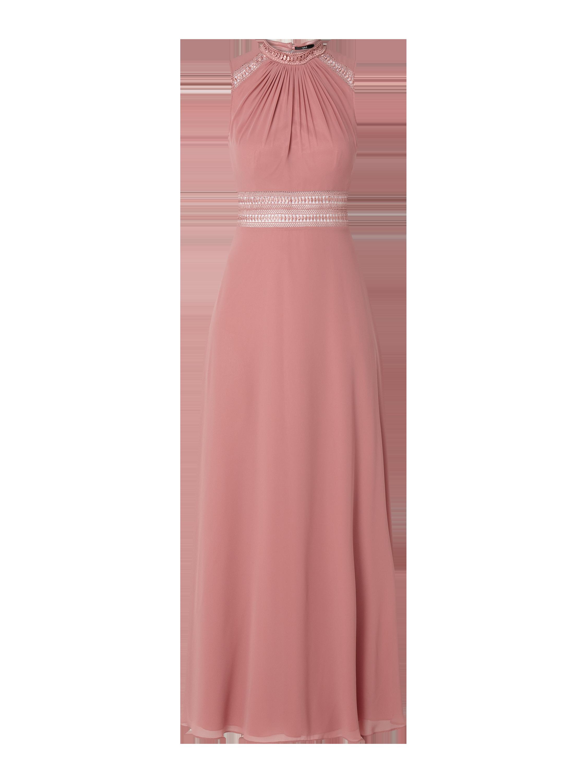v.m. – abendkleid aus chiffon mit zierborten – pink