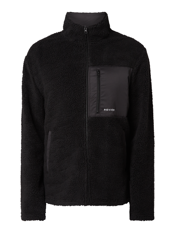 REVIEW Jacke aus Teddyfell in Grau Schwarz online kaufen