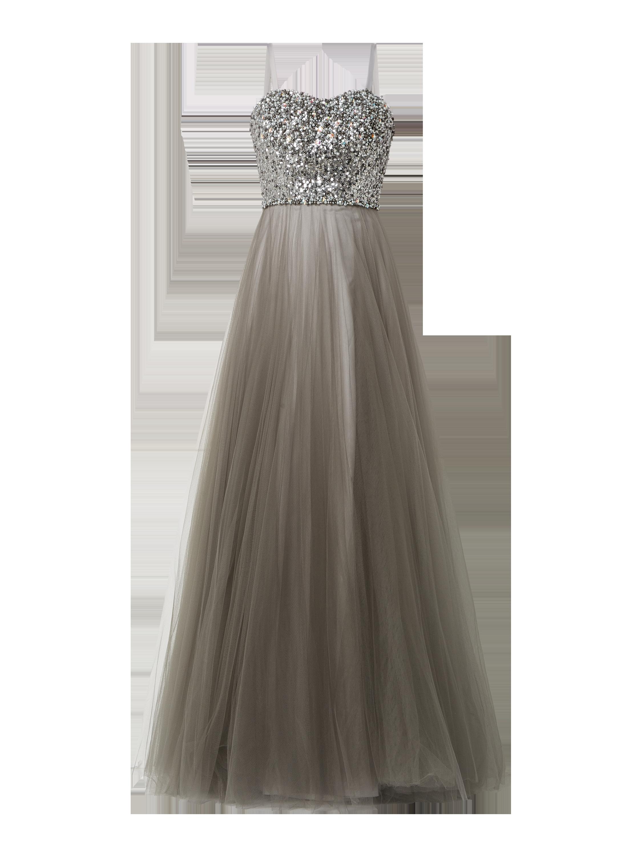 Luxuar – Abendkleid mit voluminösem Rockteil aus Mesh – Stein