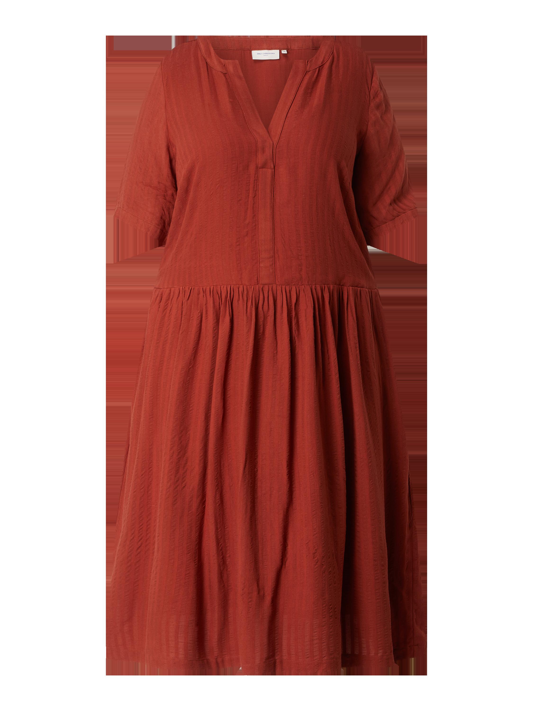only carmakoma – plus size kleid mit tunikakragen modell 'malani' – rostrot