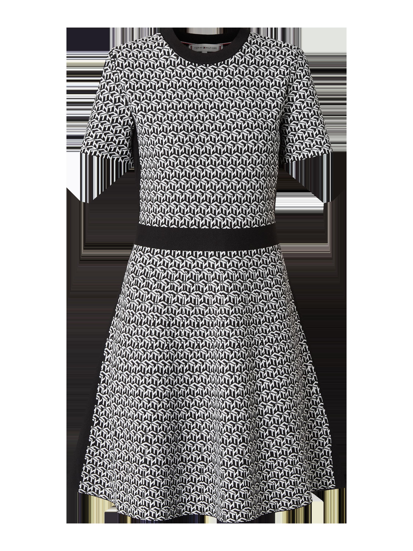 Tommy Hilfiger – Kleid mit Allover Muster – Schwarz