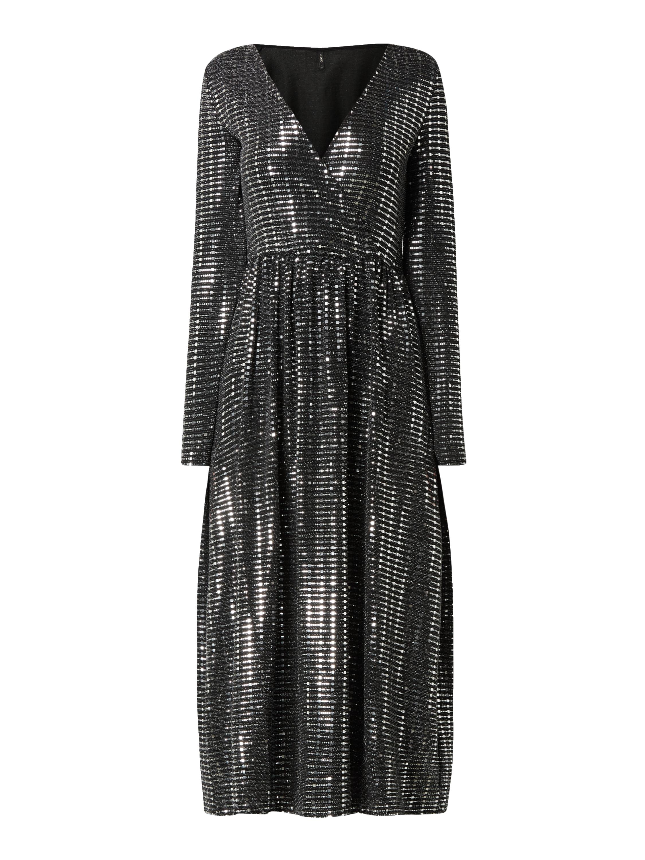 Only – Kleid mit Pailletten-Applikationen – Silber