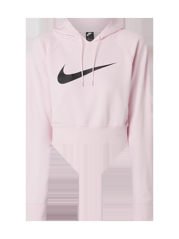 Skrócona bluza z kapturem o kroju standard fit z nadrukami z logo Nike Bluzy z kapturem damskie czarne w Peek & Cloppenburg