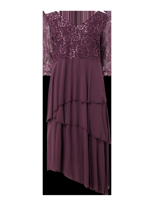 SHEEGO – PLUS SIZE Kleid aus Spitze und Chiffon – Pflaume