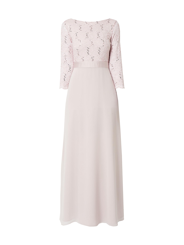 Swing – Abendkleid mit floraler Spitze – Rosa