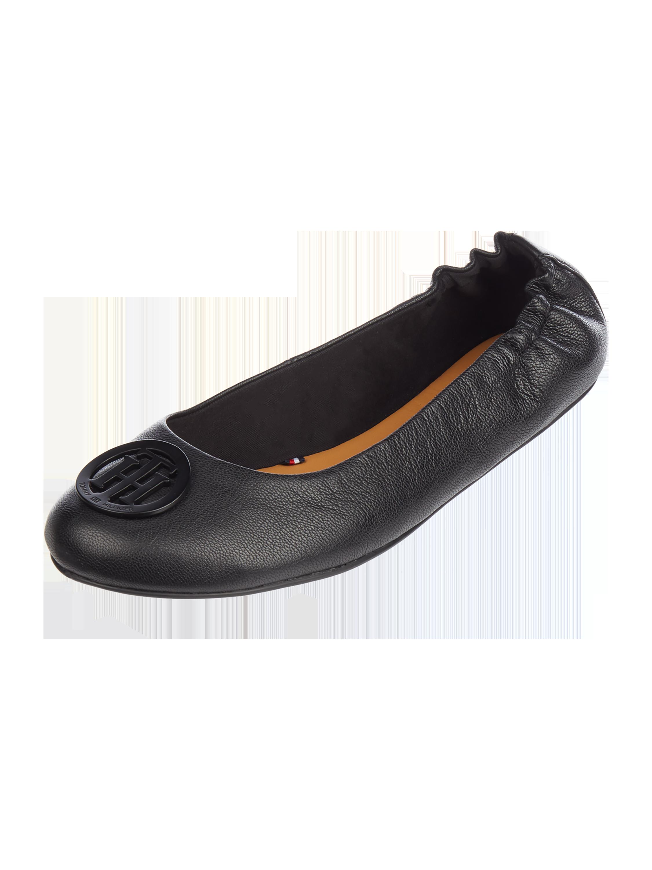 29db2b9fbf493 TOMMY-HILFIGER Baleriny skórzane z elastyczną wstawką w kolorze Szary    czarny zakupy online (9760847) w P C ▷ wysyłka i zwrot 0zł