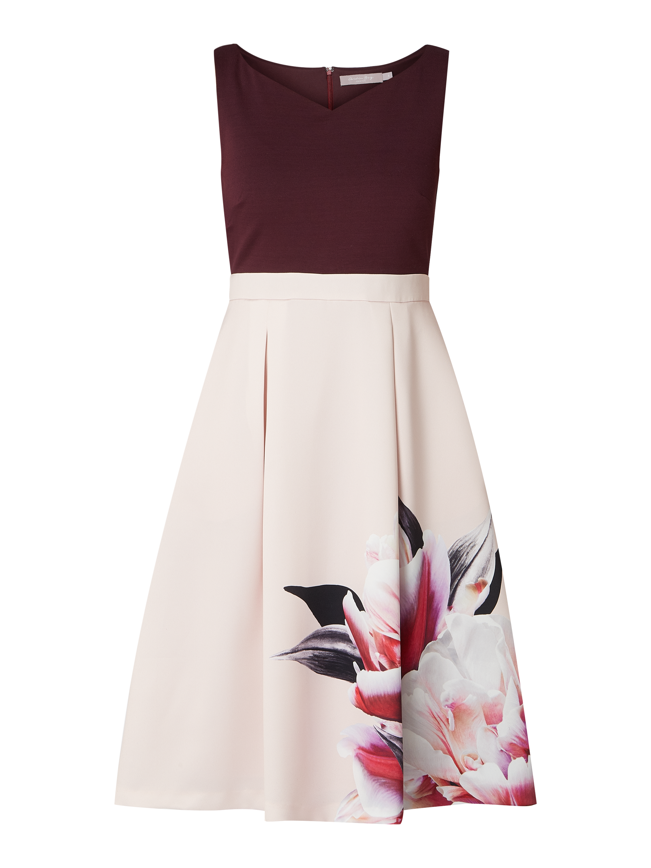 christian berg cocktail – cocktailkleid mit floralem print – aubergine