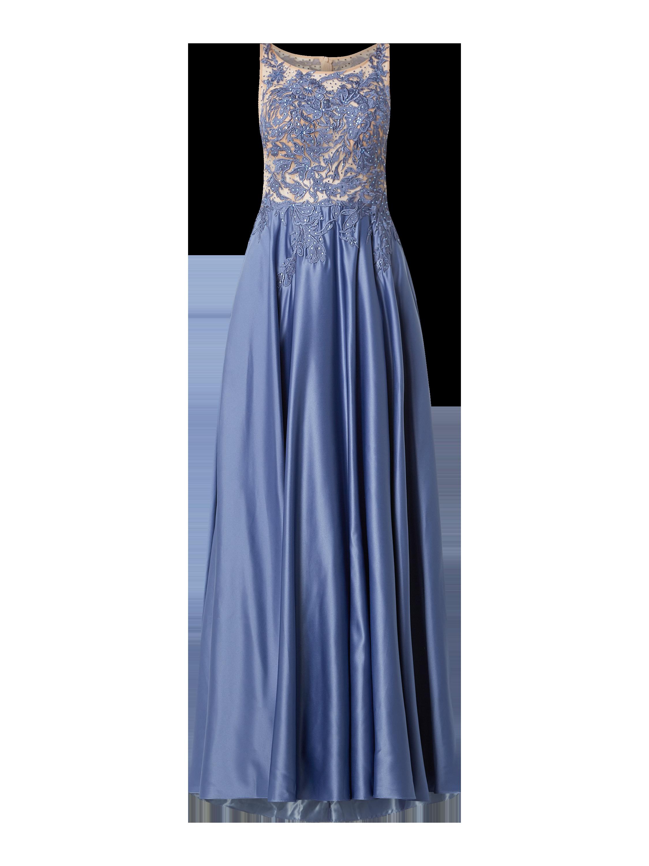 V.M. – Abendkleid mit floralen Stickereien – Hellblau