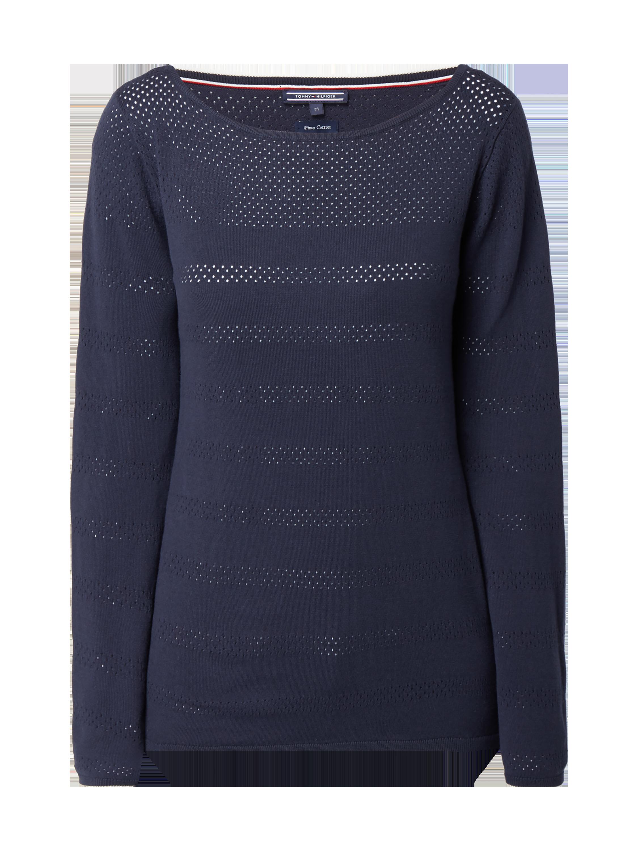 b6a56675a9ef30 TOMMY-HILFIGER Pullover mit Lochmuster in Blau / Türkis online kaufen  (9760061) ▷ P&C Online Shop Österreich