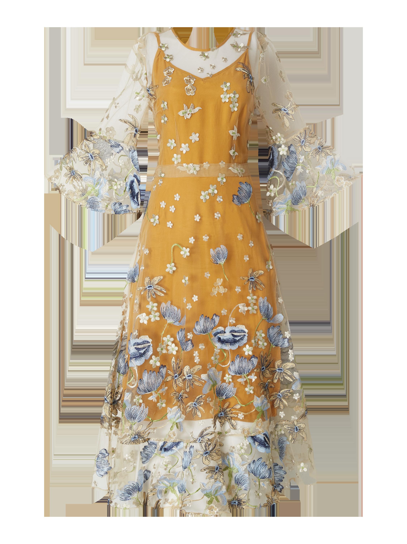 Gestuz – Sukienka midi z tiulu z haftami – Musztardowy
