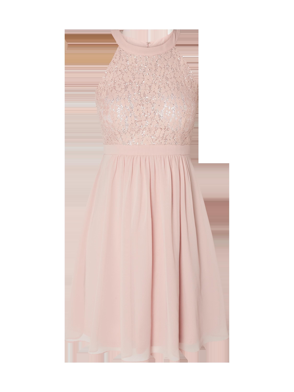 jake*s cocktail – cocktailkleid aus floraler spitze und chiffon – metallic  rosa